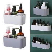 Caja de almacenamiento de cosméticos montada en la pared, estante de almacenamiento para el baño, percha adhesiva, organizador, soporte de Control remoto, decoración del hogar