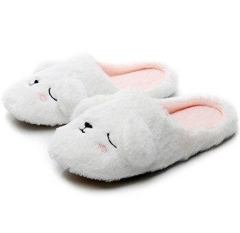 FAYUEKEY 2020 Autumn Winter Cartoon Animals Home Cotton Plush Warm Slippers Women Indoor Floor Flat Shoes Girls Christmas Gift 1