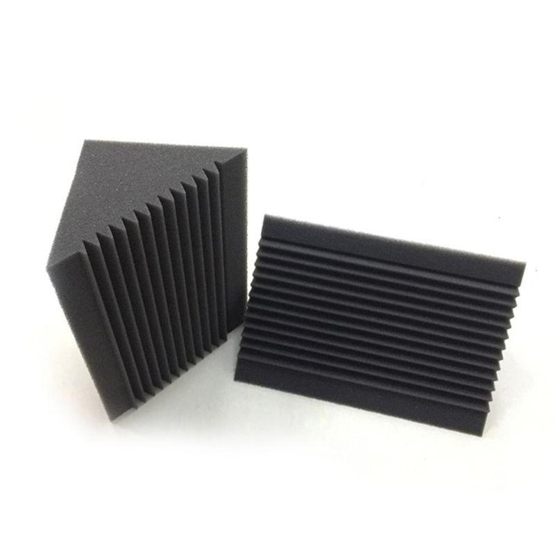 6 PCS Acoustic Foam Charcoal/Black Bass Trap Sound Absorption Studio Soundproofing Corner Wall 12 X 12 X 24 Cm