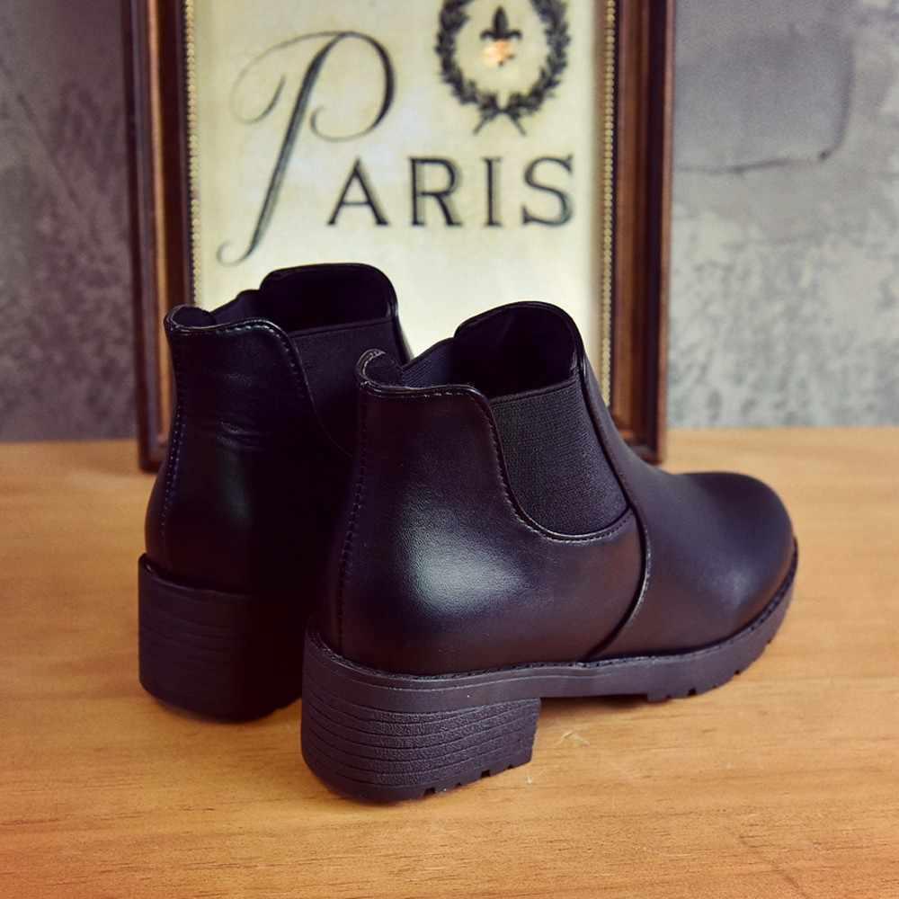 Sagace Nữ Phẳng Bằng Da Gót Chelsea Mắt Cá Chân Dày Dặn Với Gót Trung Bình Tròn Đen Ngắn Giày Bốt Martin Giày #45
