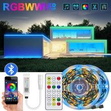 Luzes de tira conduzidas 2835 rgb 5m 10m 15m diodo emissor de luz bluetooth fita flexível led decoração da sala de fita com conjunto de adaptador dc12v