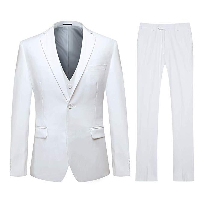 White Men's Slim Fit 3 Piece Suit One Button Blazer Tux Vest & Trousers