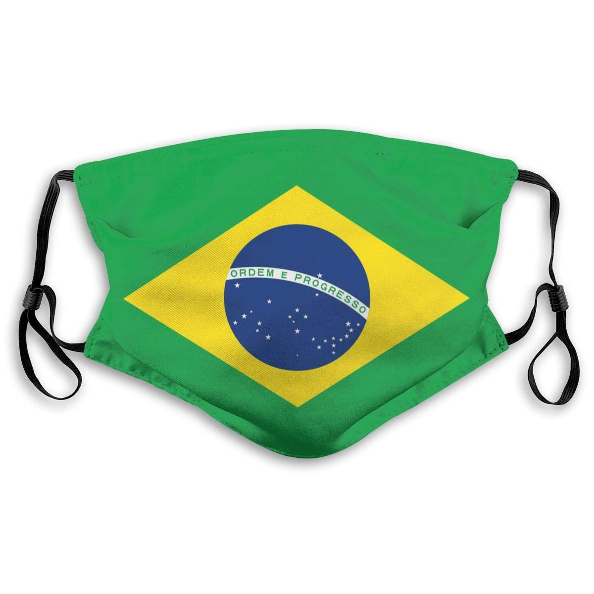 Brazil Flag Print Mouth Masks With Filter Washable And Reusable Anti Dust Breathable Mask With Adjustable Ear Loops For Men And