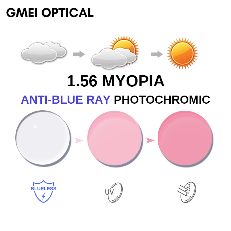 1.56 Anti-Blue Ray Photochromic Pink or Blue or Purple Myopia Lens SPH Range -0.00~-6.00 Max CLY -2.00 Aspheric Glasses Lenses