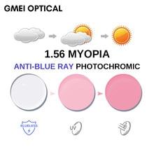 1.56 anti-azul ray photochromic rosa ou azul ou roxo miopia lente sph gama-0.00 max-6.00 max cly-2.00 lentes de óculos asféricos