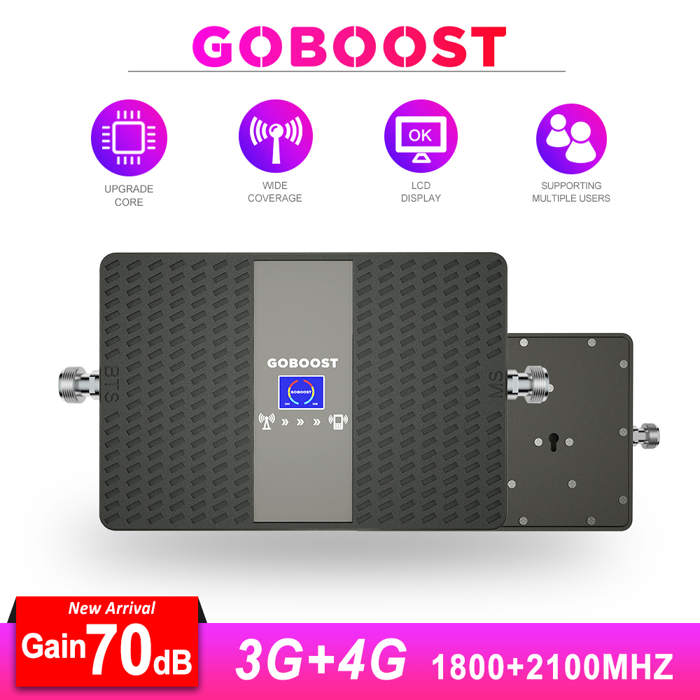 4G Signal Booster Cellphone Cellular Signal Booster 2100 GSM LTE 4G DCS 1800 GSM Signal Repeater 3G UMTS 2100 70dB Dual Band  -