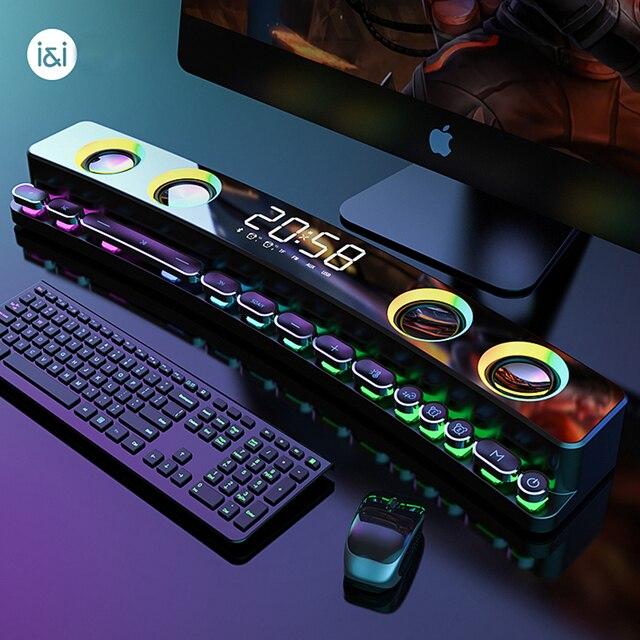 3600mAh Bluetooth Wireless Game Speaker soundbar USB 3D Stereo Subwoofer AUX FM Home Clock Indoor Sound Bar Computer Loudspeaker 6