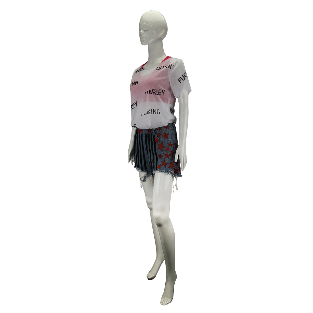 New Cosplay Birds of Prey Harley Quinn Suicide Squad Costumes Vest Short Pants T-Shirt Woman Halloween Costume Party Prop (6)