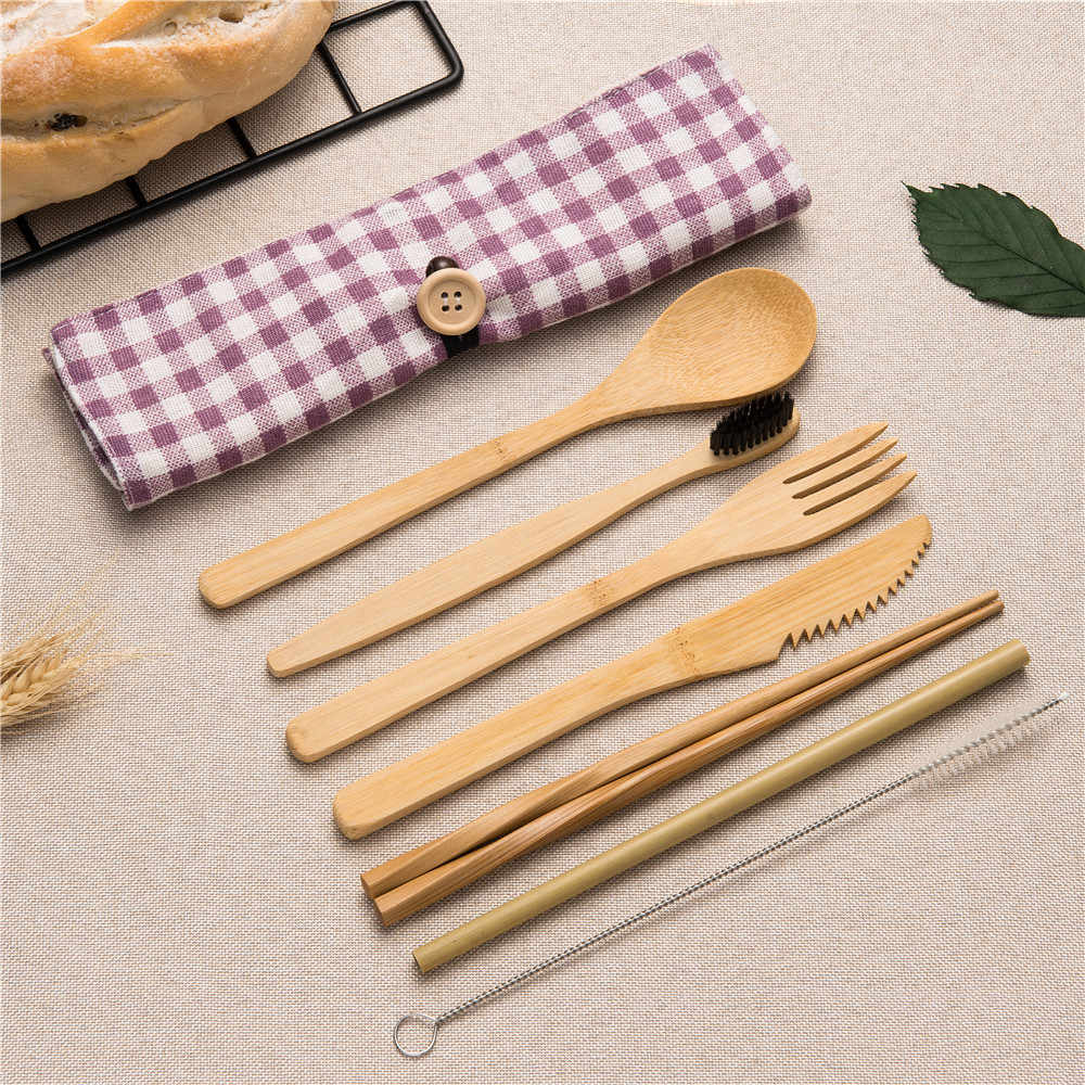 Portable Luxury Travel Dinnerware Japanese Wooden Cutlery Set 8pcs Bamboo Cutlery Straw Cloth Bag Kitchen Food Tableware Dinner