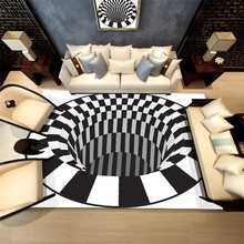 3D Print Carpet Luxury Carpet Floor Mat Rug White Black Abstract Geometric Optical Illusion Living Room Bedroom Rug Round