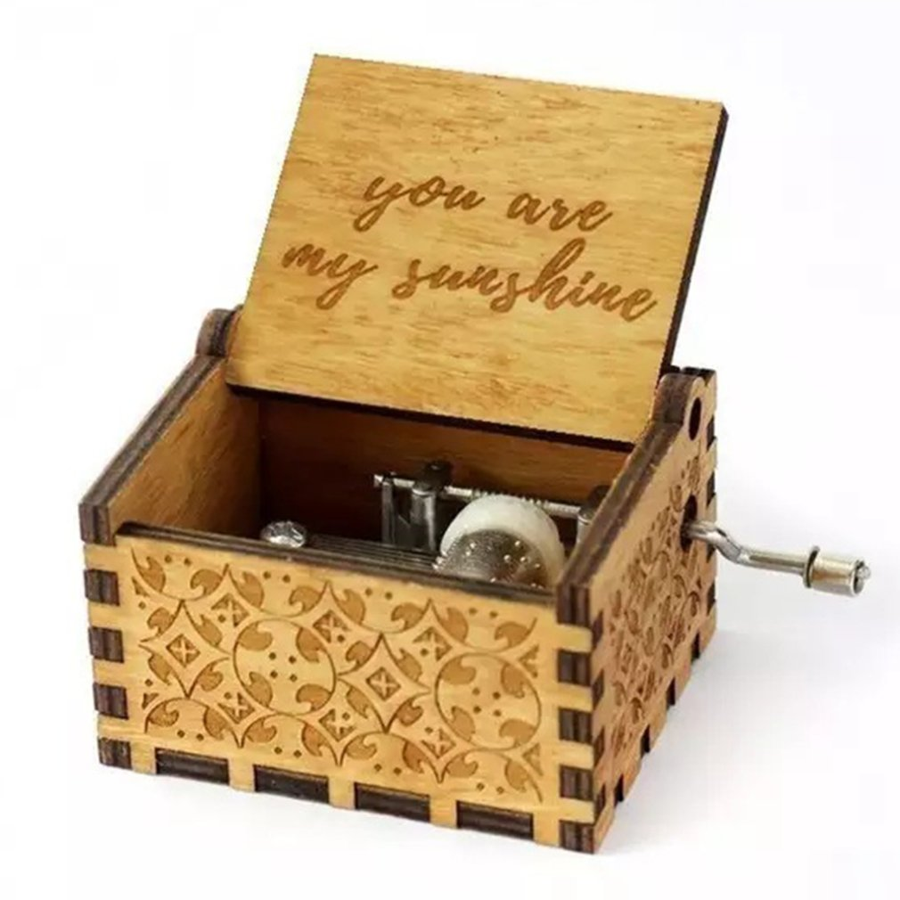 Handmade Classical Music Box Hand-Operated Wooden Music Box You Are My Sunshine Crafts Professional Music Box