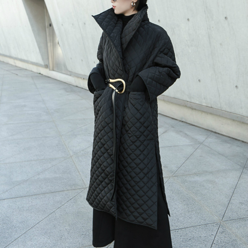 Women Wadded Jacket Winter Long Parka Argyle Black Femme Coat Side High Split Ladies Parka Jackets Long Light Robe Outwear Cloak