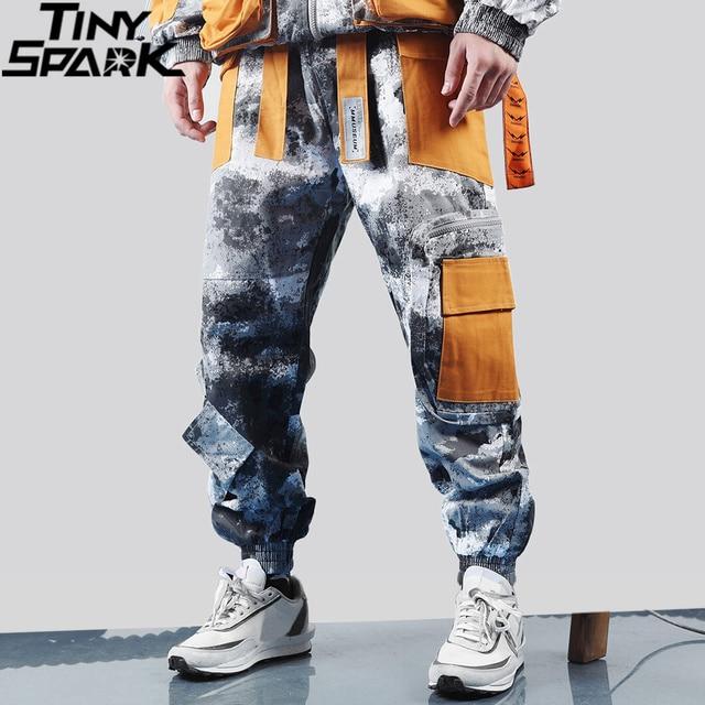 Hip Hop kamuflajlı kargo pantolon Streetwear erkekler Harajuku taktik pantolon çok cep 2019 dökümlü pantolon HipHop Harem pantolon rahat