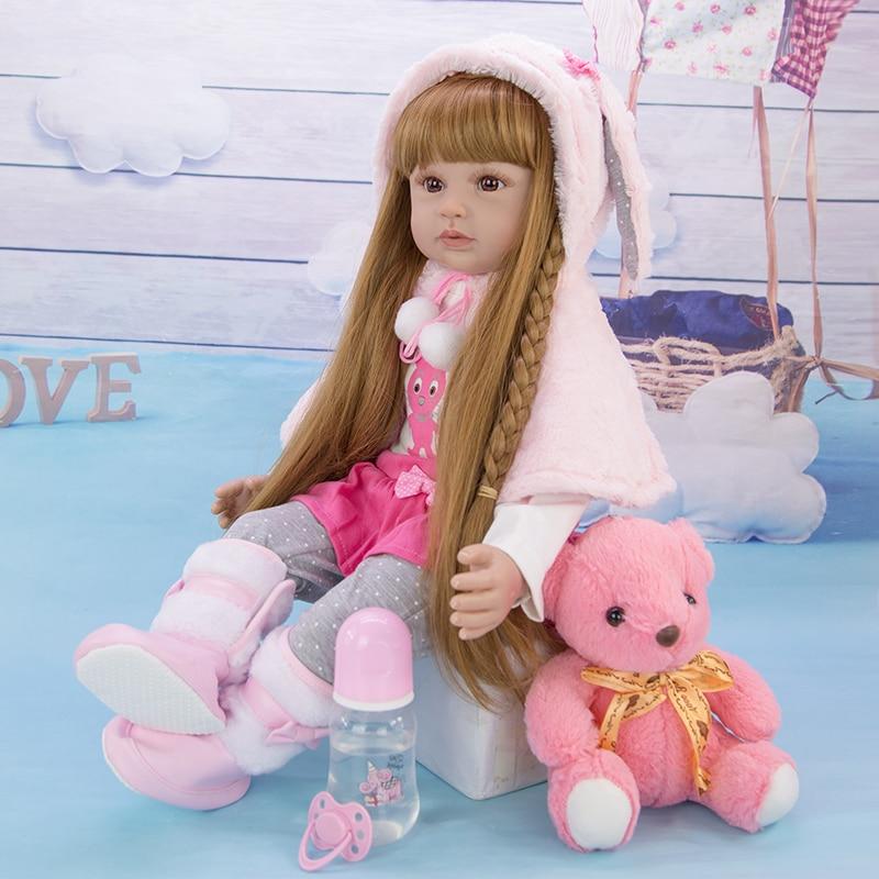 Boneca reborn bebê 24 polegadas 60cm, boneca de silicone, menina, boneca princesa, renascido, boneca, cabelo longo, brinquedo realista para crianças presente de aniversário