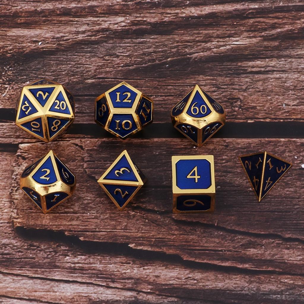 7 шт. цинковый сплав многогранные игральные кости DND 7 столовые сервизы-Die металлические игральные кубики для Pathfinder DND RPG MTG настольные игры иг...