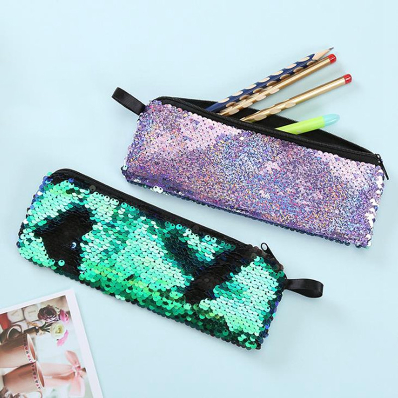 Reversible Sequin Pencil Case For Girls Cute Pencil Box Pencilcase School Pencil Cases Tools School Supplies Stationery Gift