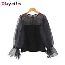 see through top women sexy shirt sweet black transparent O neck long sleeve stylish basic solid female