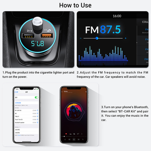 Image 5 - TOPK Car Charger for iPhone Mobile Phone Handsfree FM Transmitter Bluetooth Car Kit LCD MP3 Player Dual USB Car Phone Charger