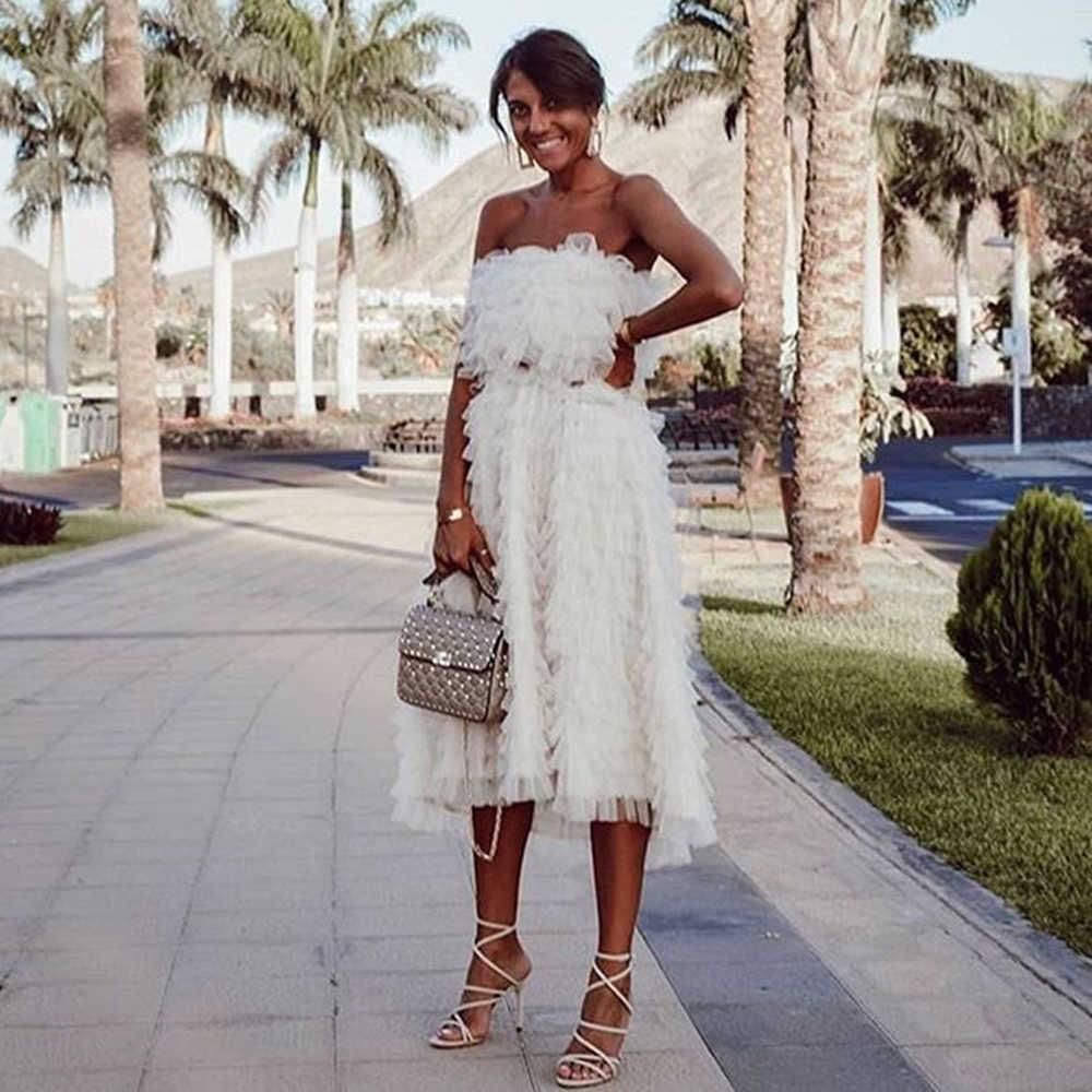 สีขาวเซ็กซี่ชุดราตรีชุดตาข่ายผู้หญิง Elegant PARTY Night Tulle Ruffles Vestidos ฤดูร้อน Robes