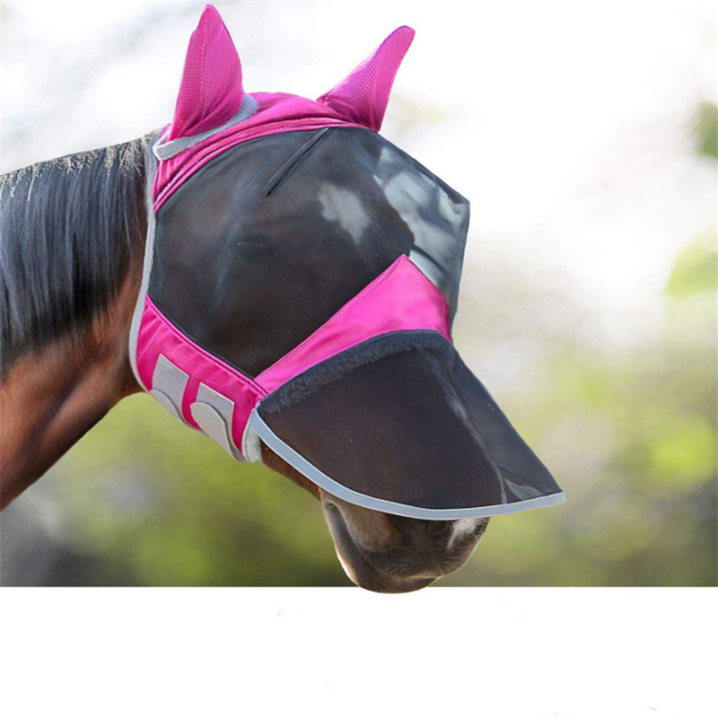 Horse Detachable Mesh Mask Horse Fly Mask With Ear Protection Full Face Masks Anti-Mosquito Equestrian Supplies Horse Equipment