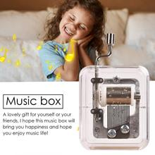 20 Styles Mini Hand Cranking Music Movement DIY Transparent Box Merry Christmas A Variety of Gift