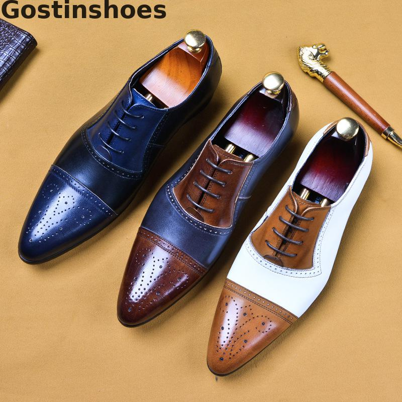 Men Brogues Shoes Genuine Leather Oxfords Shoes Cut-out Capped Toe Breathable Leather Shoes Lace-up Pointed Dress Formal Shoes