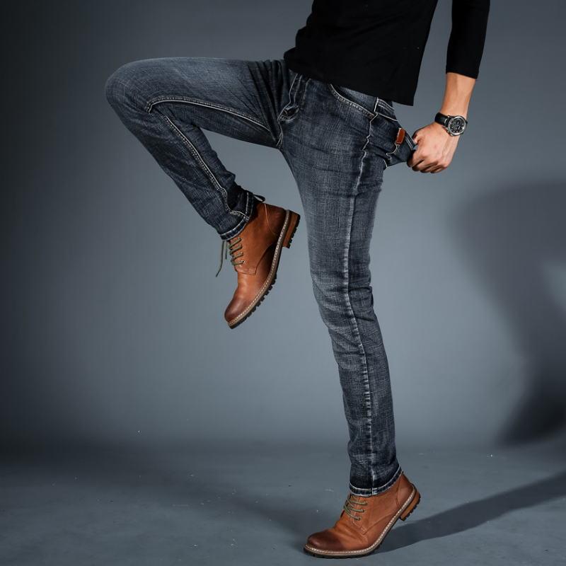 Men Midweigth elástico Spandex Denim Pantalones vaqueros de ajuste delgado para hombres de negocios Jean azul y negro colores