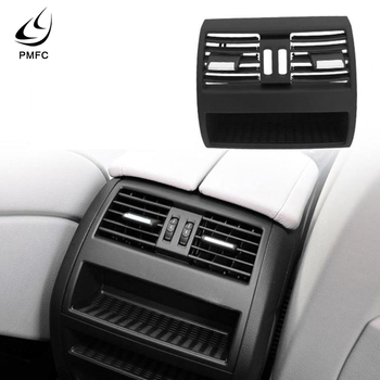 PMFC Grille Cover Rear Center Console Fresh Air Outlet Vent for BMW 5 F10 F18 without Buttons ABS+ PC material Black image