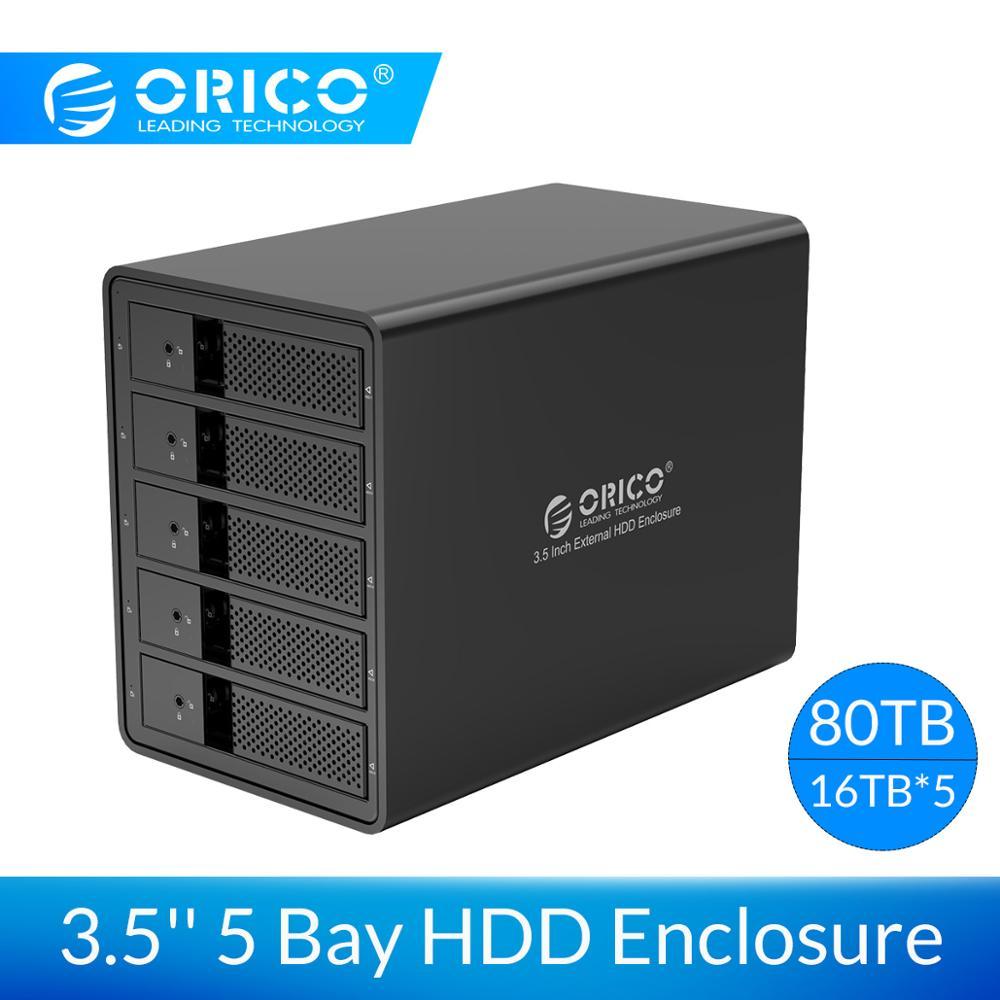 ORICO 3.5 Polegada 5 Baía Gabinete HDD Ferramenta gratuita 5-bay Docking Station HDD USB 3.0 para SATA Caso para PC Portátil HDD Case