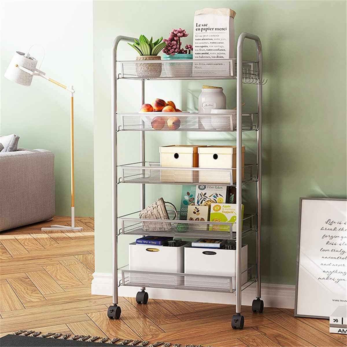 Stainless Shelving Storage Unit Wire Rack Organizer Kitchen Bathroom Countertop Storage Organizer Shelf Holder With Random Wheel
