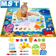 Big Size Aqua Magic Water Drawing Mat Kleuring Set Magic Pennen & Stempel Set Schilderen Speelgoed Tekentafel Educatief Speelgoed voor Kids(China)