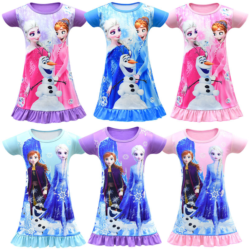 High Quality 2020 New Frozen 2 Anna Elsa Princess Girls Dress 3D Printed Christmas Costume Summer Girl Vestidos