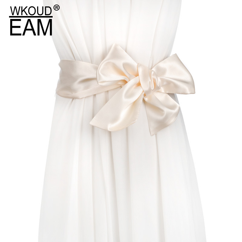 WKOUD EAM 2020 New Fashion Chiffon Silk Bow Wilde Waistband Female Wild Decoration Belt Casual Tie Wedding Dress Belt Lady PE078