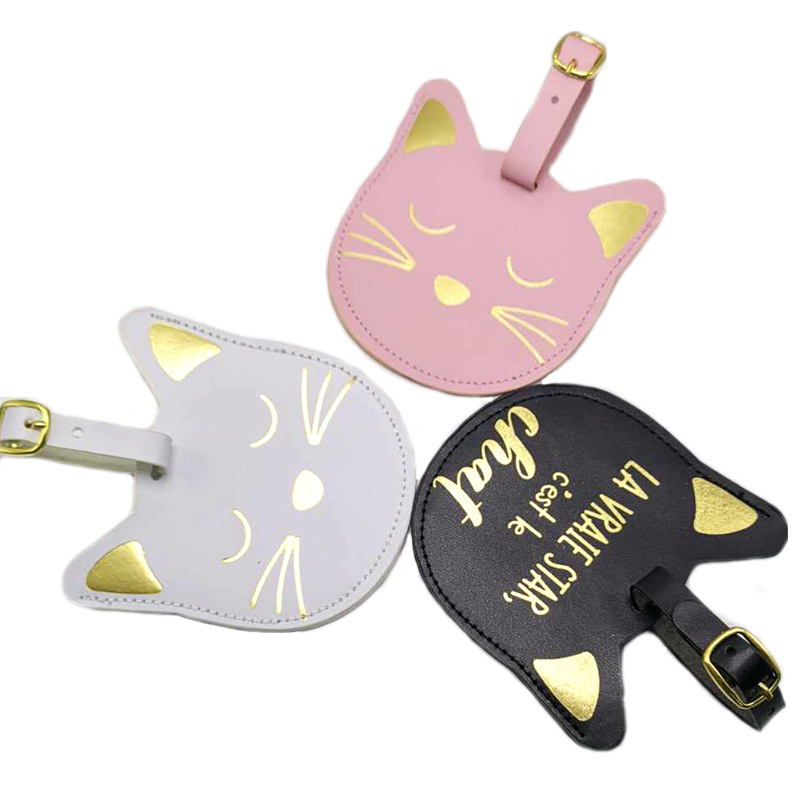Travel Accessories Fashion Animal Cat Luggage Tag Portable Label Suitcase ID Address PU Leather Holder Women Baggage Boarding