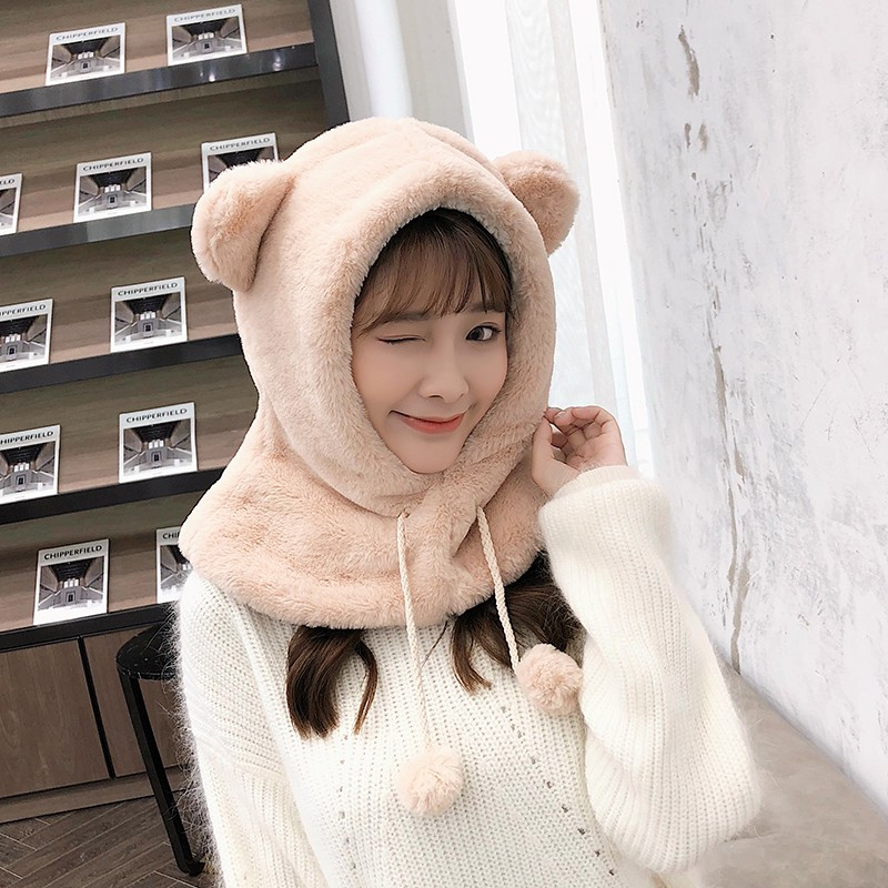 ZDFURS*2019  Winter Hat Women's Korean Version Of Children's Hooded Hat Warm Thickened Cycling  Windproof  Scarf Parent-child