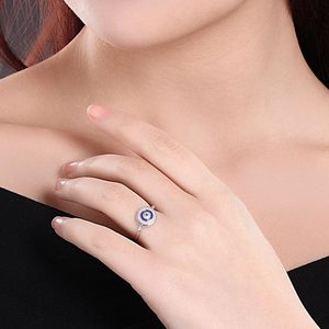 Image 2 - KALETINE Turkey CZ Evil Eye 925 Sterling Silver Jewellery Sets for Women Blue Round Pendant Necklace Ring Stud Earrings Wedding
