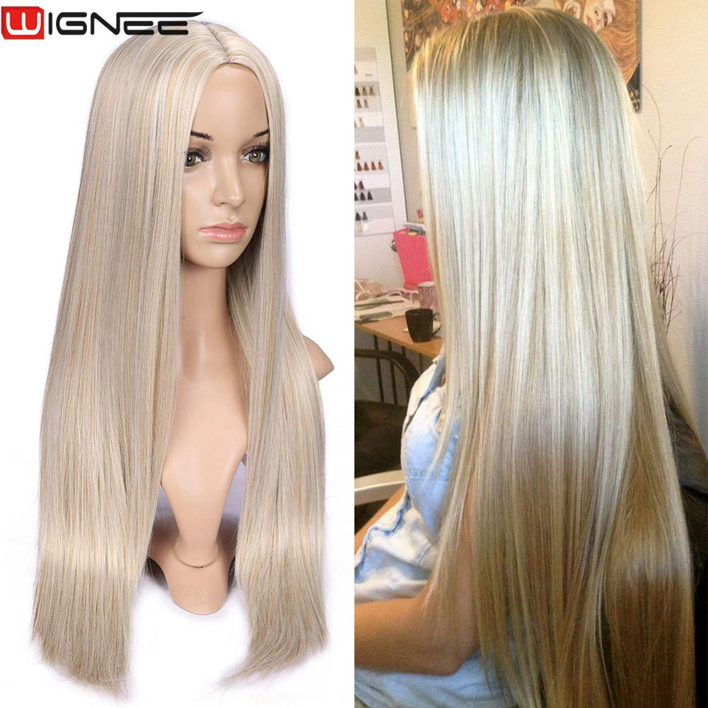 Wignee Long Straight Hair Synthetic Wig For Women  Blonde Natural Middle Part Hair Heat Resistant Fiber For Black/White Women