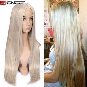 Image 2 - Wignee długie proste włosy peruka syntetyczna dla kobiet blond naturalne środkowa część włosów żaroodporne FiberNatural codzienne włosy peruka