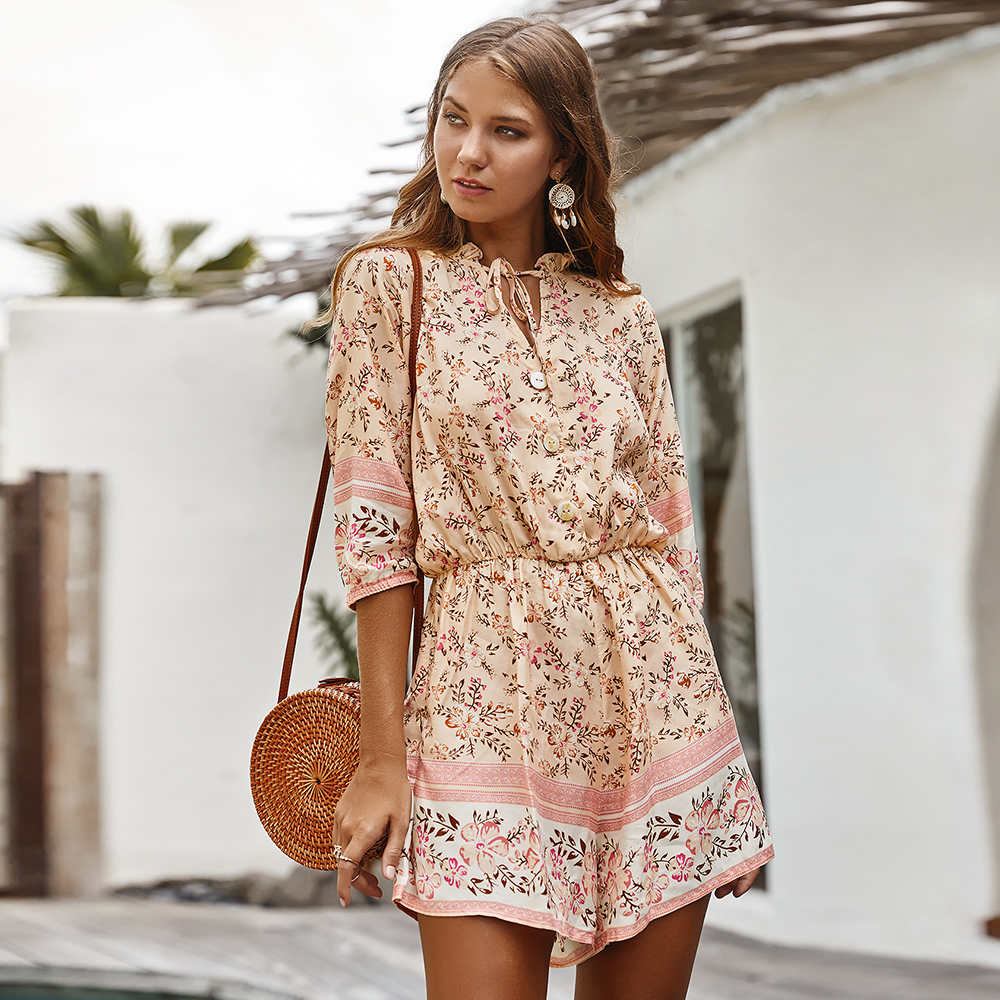 2020 New Lace Up Print Playsuits Women Cotton Bohemian Style Playsuits