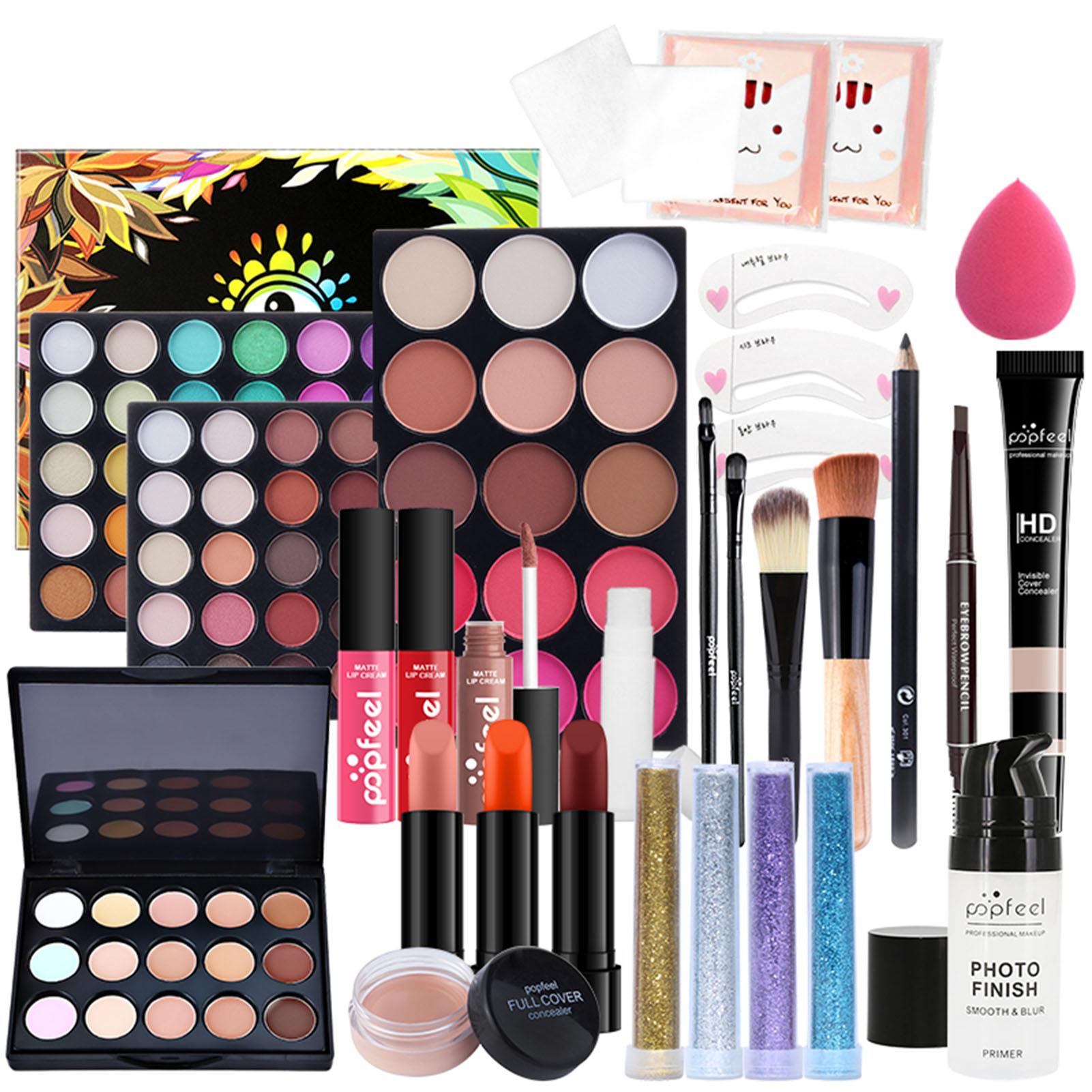 30Pcs All In One Makeup Kit Cosmetic Starter Kit Face Makeup Eyeshadow Lipstick Brush Eyeliner Powder Cosmetic Bag