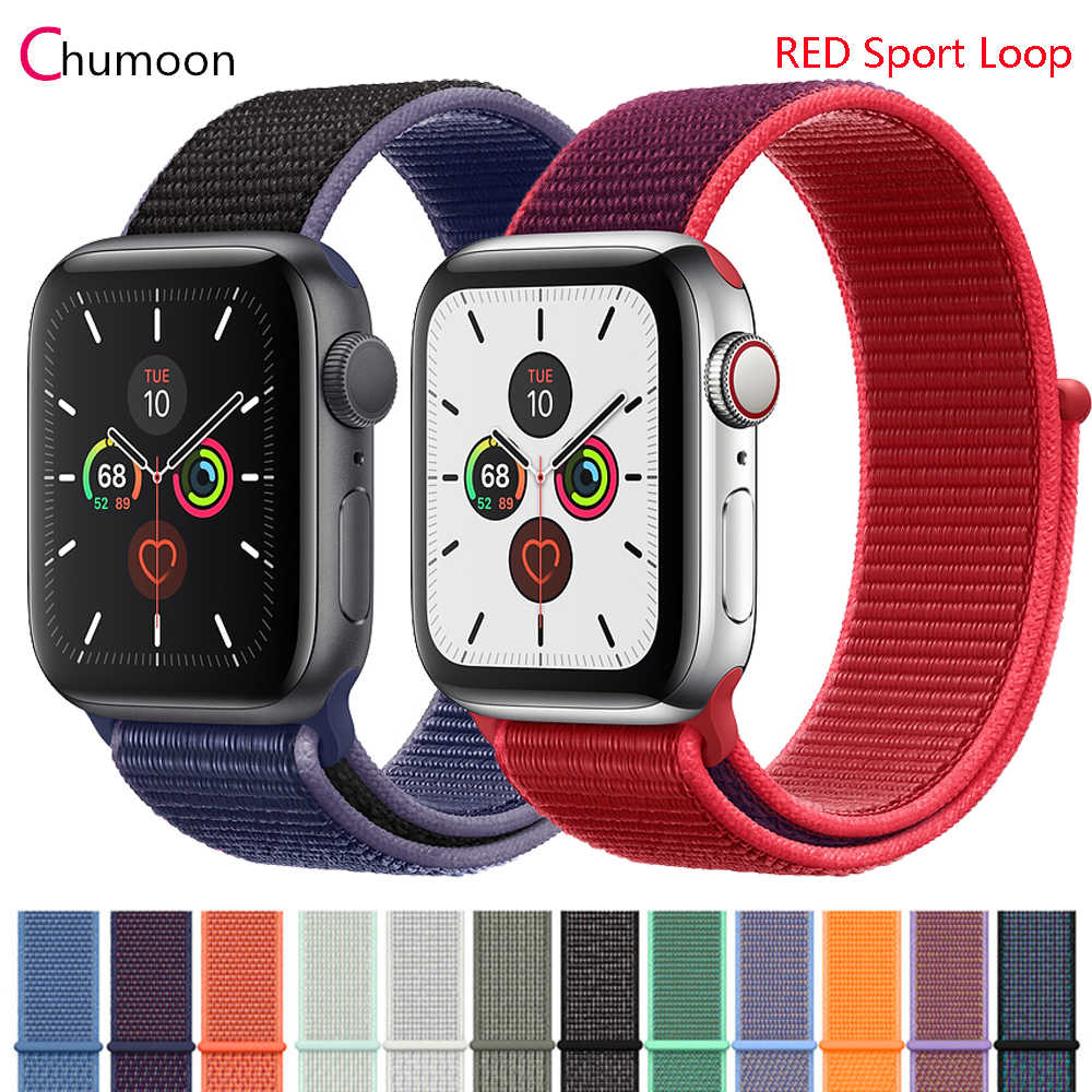 Tali untuk Apple Watch Band 5 44 Mm 40 Mm 42 Mm 38 Mm IWatch Seri 3 2 1 Olahraga Nilon loop Watchband Gelang Apple Watch 5 4 Band