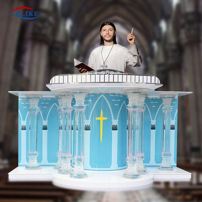 Дешевая белая стеклянная подиумная цена церковная кафедра Aklike для акустических храмов акриловая Лекция подиумы другая коммерческая мебел