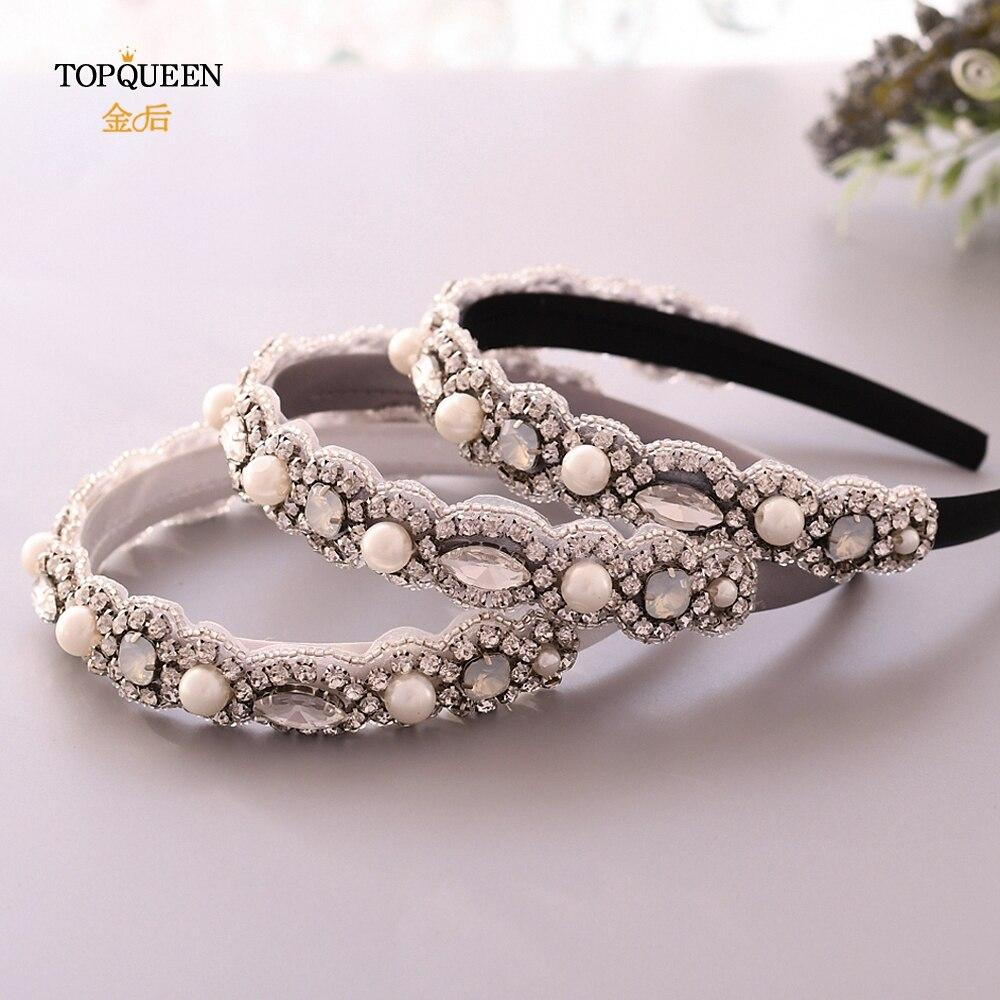TOPQUEEN S274-FG Wedding Rhinestone Headband  Baroque Headband Bridal Tiara Headpieces  Pearls Headband Three Colour Choose