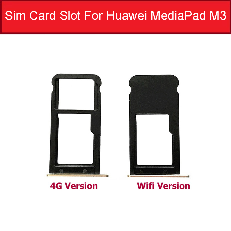 Genuine Sim Card Slot For Huawei MediaPad M3 BTV-DL09 BTV-W09 4G Or Wifi Version Sim Card Reader Tray Holder Replacement Repair