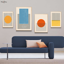 Abstract Black Line Colorful Shapes Geometric Art Vintage Wall Poster Canvas Painting Picture Living Room Nordic Home Decoration