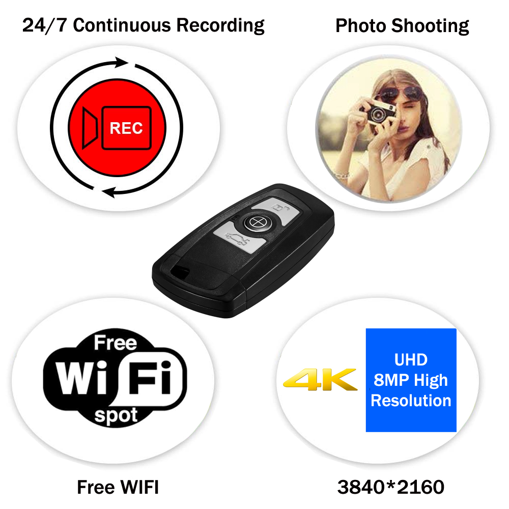 Image 2 - Mini Car key Camera 4K UHD Keyfob WIFI Camera Sensor Camcorder Motion DVR Micro Camera Sport DV Monitor Security Video ip Camera-in Surveillance Cameras from Security & Protection