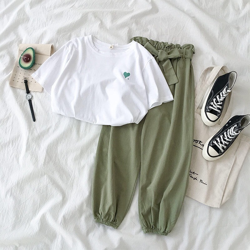 Summer New Female Tracksuits Fashion Clothes Casual Loose White Tops And Pant 2 Piece Sets Women Students Girls Sweet Sportswear