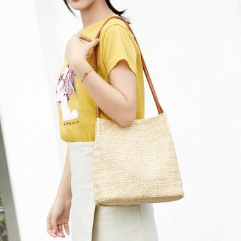 2019 South Korea's New Straw bag Casual Handbag Summer Holiday Shoulder Bag Ladies Weaving Bucket Beach Shoulder Bags