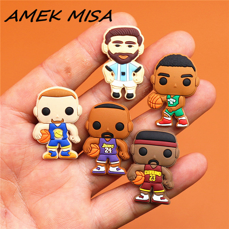 Novel Single Sale Basketball Player Shoe Charms Accessories PVC Football Player Shoe Decoration Fit Croc Jibz Kid's X-mas Gifts