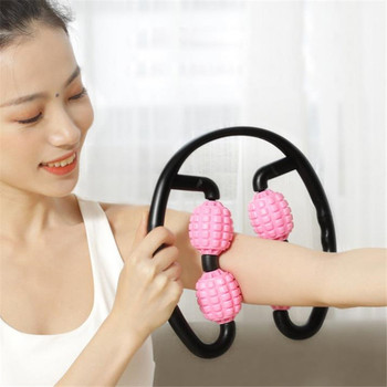360° 4 Wheels Muscle Massager Body Shaping Relaxation Roller Ring Clamp Leg Waist Arm Body Massage Stick Yoga Fitness 20#43 bamboo moxa moxibustion box acupuncture relaxation roller stick holder neck arm body acupoint massage moxibuting therapy device